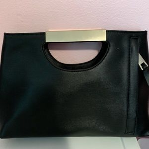Black dressy purse with gold handle